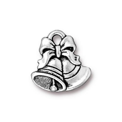 16 x 16.5mm Antique Silver Christmas Bells Charm | TierraCast Lead-free Pewter Base Metal Christmas Charms