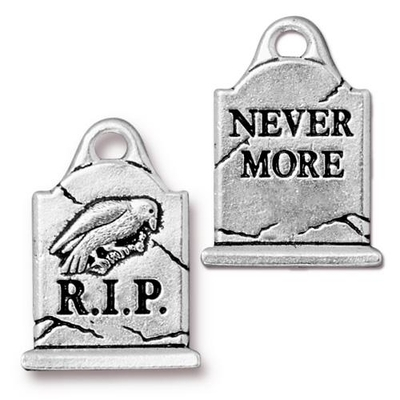 Gravestone Charm - R.I.P. and Nevermore - Antique Silver Finish | TierraCast Lead-free Pewter Base Metal Halloween Charms