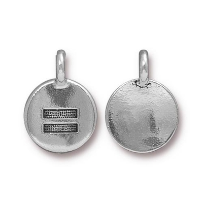 11.6 x 16.6mm Antique Silver Equality Equal Sign Charm   TierraCast Lead-free Pewter Base Metal Symbol Charms