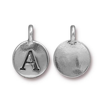 11.6 x 16.6mm Antique Silver Letter A Charm | TierraCast Lead-free Pewter Base Metal Alphabet Charms