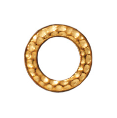 9mm Hammered Circle Ring Loop Link - Antique Gold Finish | TierraCast Lead-free Pewter Findings