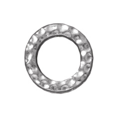 9mm Hammered Circle Ring Loop Link - Silver Finish | TierraCast Lead-free Pewter Findings