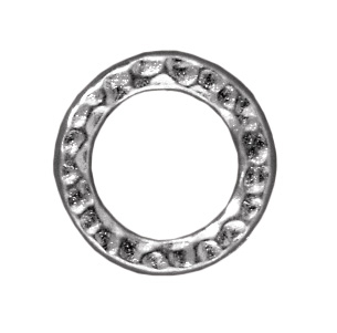 13mm Hammered Circle Ring Loop Link - Silver Finish | TierraCast Lead-free Pewter Findings