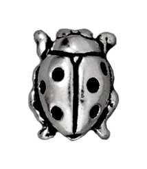 Ladybug Metal Beads and Spacers - Antique Silver Finish