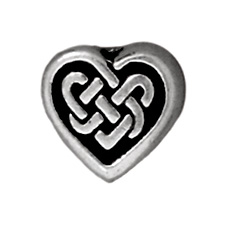 Metal Celtic Heart Beads and Spacers - Antique Silver Finish