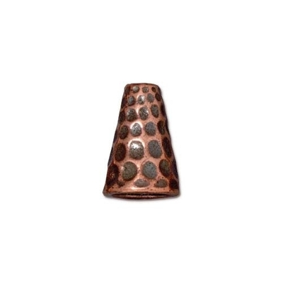 lead free pewter 13 x 9mm hammered cone antique copper | cone