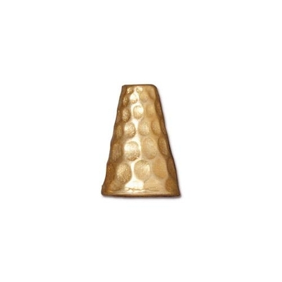 13 x 9mm Hammered Cone - Antique Gold Finish - 10 Pack | TierraCast Lead-free Pewter Base Metal Findings for Making Jewelry