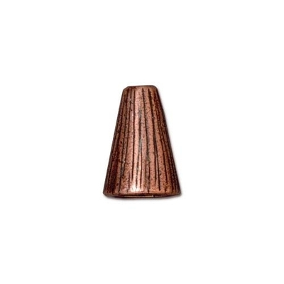 lead free pewter 13 x 9mm textured cone antique copper | cone