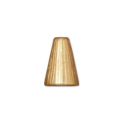 lead free pewter 13 x 9mm textured cone gold | cone