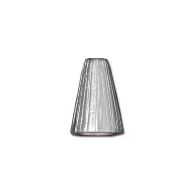 lead free pewter 13 x 9mm textured cone silver | cone