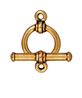 TierraCast 12mm Bar and Ring Toggle Clasp - Antique Gold Finish - 5 Pack | Lead Free Pewter Base Metal Jewelry Clasps | Findings | Harlequin Beads and Jewelry