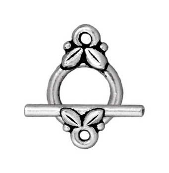 TierraCast 10mm Leaf Toggle Clasp - Antique Silver Finish - 5 Pack | Lead Free Pewter Base Metal Jewelry Clasps | Findings | Harlequin Beads and Jewelry