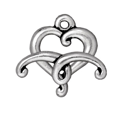 TierraCast 14mm Jubilee Heart Toggle Clasp - Antique Silver Finish - 5 Pack | Lead Free Pewter Base Metal Jewelry Clasps | Findings