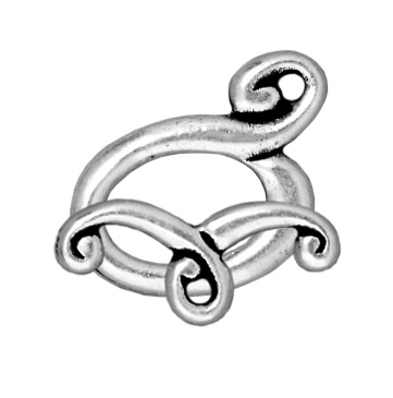 TierraCast 14x11mm Melody Toggle Clasp - Antique Silver Finish - 5 Pack   Lead Free Pewter Base Metal Jewelry Clasps   Findings