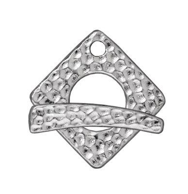 TierraCast 18mm Hammered Square Toggle Clasp - Silver Finish - 5 Pack | Lead Free Pewter Base Metal Jewelry Clasps | Findings