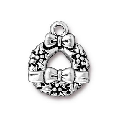 TierraCast 17 x 21mm Wreath and Bow Toggle Clasp - Antique Silver Finish | Lead Free Pewter Base Metal Jewelry Clasps | Findings