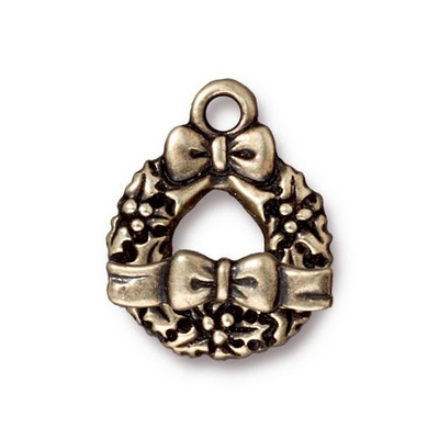 TierraCast 17 x 21mm Wreath and Bow Toggle Clasp - Antique Brass Finish | Lead Free Pewter Base Metal Jewelry Clasps | Findings