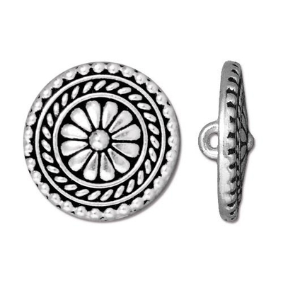 17.75mm Antique Silver Large Bali Button | TierraCast Lead-free Pewter Base Metal Buttons for Crafts and Making Jewelry