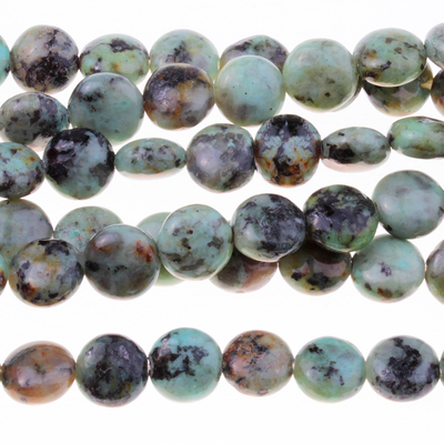 African Turquoise 8mm puffy coin blue green with spots | Gemstone Beads