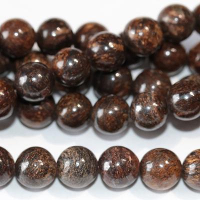 Bronzite 8mm round bronze | Gemstone Beads