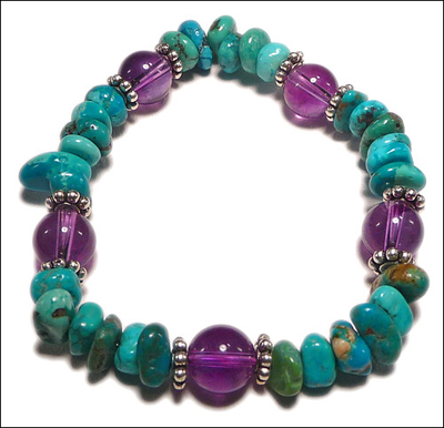 turquoise and amethyst stretchy gemstone beads bracelet jewelry beaded bracelet design ideas beaded bracelet design - Beaded Bracelet Design Ideas