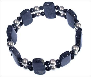 Blue Dumortierite Bracelet with Black Swarovski Pearl and Sterling Silver Matte Beads | Jewelry Project Kit Custom Kits