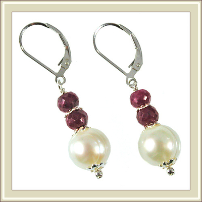 Elegant Pearl and Ruby Earrings | Jewelry Design Ideas