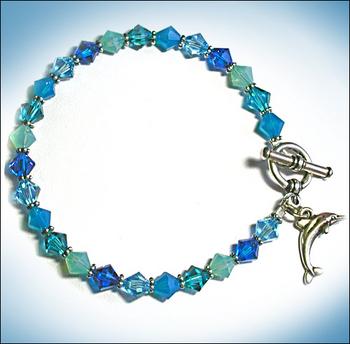 Dolphin Charm and Swarovski Crystal Aqua Blue Beads Bracelet | Jewelry Project Kit Custom Kits
