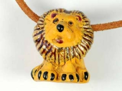 18 x 22mm Lion Hand-painted Clay Bead | Natural Beads