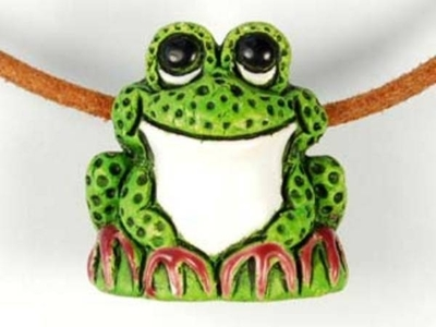 21 x 22mm Frog Hand-painted Clay Bead | Natural Beads | Harlequin Beads and Jewelry