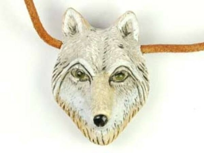 24 x 34mm Wolf Head Hand-painted Clay Bead   Natural Beads