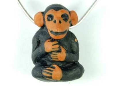 15 x 23mm Monkey Hand-painted Clay Bead | Natural Beads