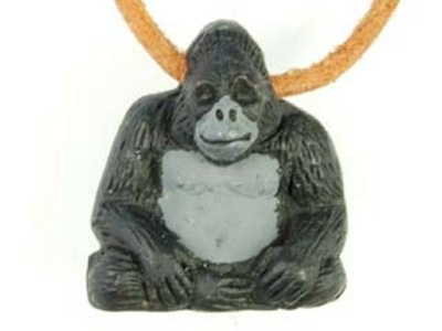 24mm Gorilla Hand-painted Clay Bead | Natural Beads