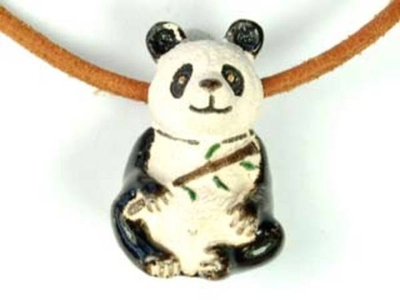 17 x 25mm Panda Bear Hand-painted Clay Bead | Natural Beads