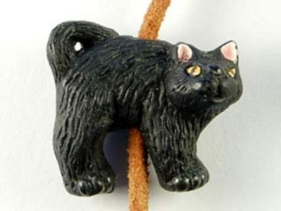 20 x 22mm Spooked Black Kitty Hand-painted Halloween Clay Bead | Natural Beads