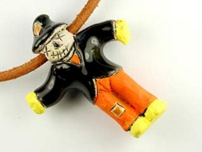 33 x 27mm Scarecrow Hand-painted Clay Halloween Bead | Natural Beads