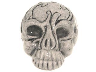 28 x 21mm Skull with White Mask Hand-painted Clay Halloween Bead | Natural Beads
