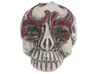 28 x 21mm Skull with Red Mask Hand-painted Clay Halloween Bead | Natural Beads