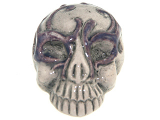 28 x 21mm Skull with Purple Mask Hand-painted Clay Halloween Bead | Natural Beads