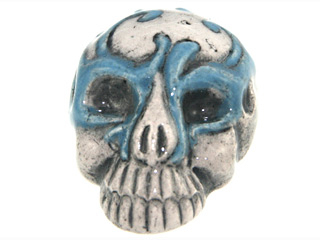 28 x 21mm Skull with Light Blue Mask Hand-painted Clay Halloween Bead | Natural Beads