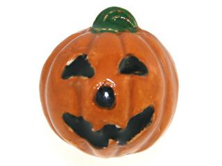 18 x 17mm Jack O Lantern Hand-painted Clay Halloween Bead | Natural Beads