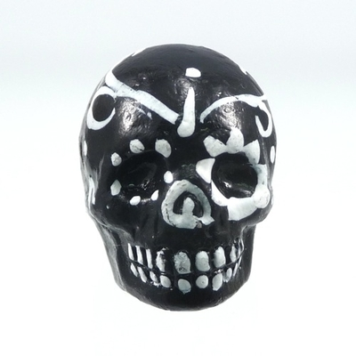 16 x 22mm Sugar Skull Hand-painted Clay Bead - Black and White | Day of th Dead Skull Bead | Natural Beads