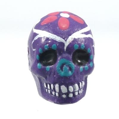 16 x 22mm Sugar Skull Hand-painted Clay Bead - Dark Purple | Day of th Dead Skull Bead | Natural Beads