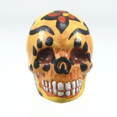 16 x 22mm Sugar Skull Hand-painted Clay Bead - Yellow | Day of th Dead Skull Bead | Natural Beads