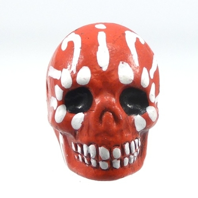 16 x 22mm Sugar Skull Hand-painted Clay Bead - Red | Day of th Dead Skull Bead | Natural Beads