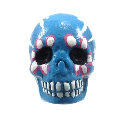 16 x 22mm Sugar Skull Hand-painted Clay Bead - Blue | Day of th Dead Skull Bead | Natural Beads
