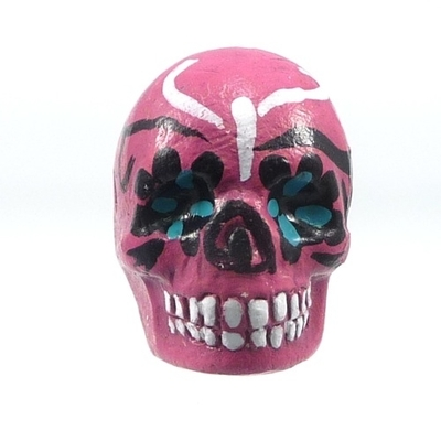16 x 22mm Sugar Skull Hand-painted Clay Bead - Pink | Day of th Dead Skull Bead | Natural Beads