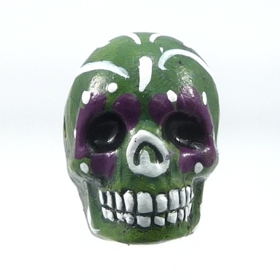 16 x 22mm Sugar Skull Hand-painted Clay Bead - Green | Day of th Dead Skull Bead | Natural Beads