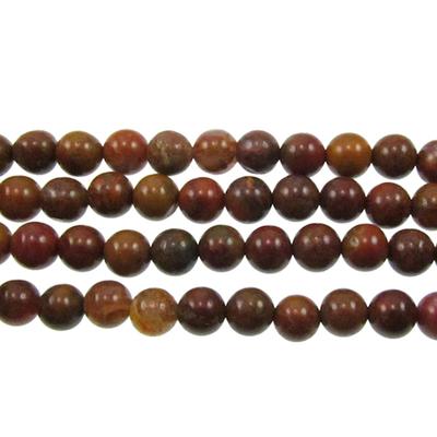 6mm Round Agua Nueva Agate Stone Bead - 8-inch String   Natural Semiprecious Gemstone