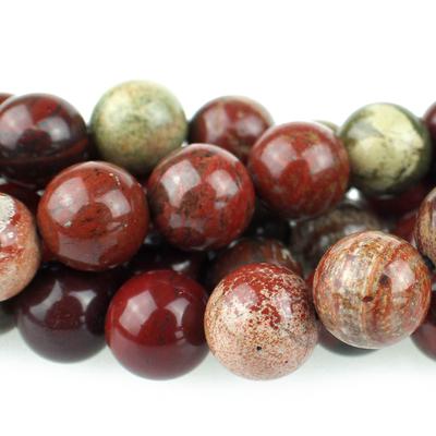 10mm Round Apple Jasper Beads - Rich Red with Yellow | Natural Semiprecious Gemstone